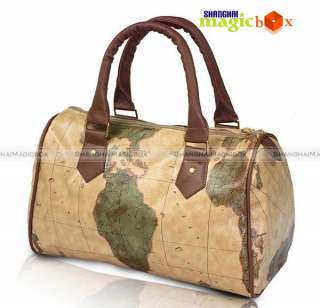 World Map Designer Travel Women PU Leather Bag Handbag