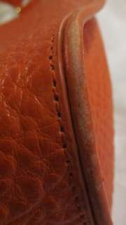 DKNY CROCO EMBOSSED LEATHER SHOPPER TOTE ORANGE HANDBAG 795730633597