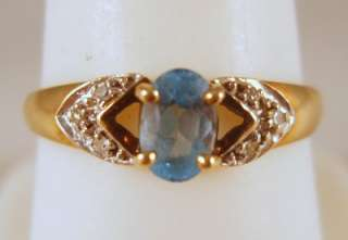 Vintage 9K 375 Yellow Gold Blue Topaz + Diamond Ring 1.7G Size 8 No