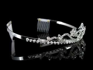 3cm High Wedding Prom Bridal Flower Girl Clear Crystal Tiara Headband
