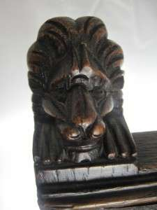 Gorgeous Antique Chair Lions Heads Brass Handle Heavily Carved