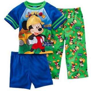 Disney MICKEY MOUSE 3 Piece Pajamas pjs Shirt 2T 3T 4T