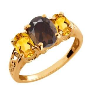 2.00 Ct Oval Brown Smoky Quartz and Citrine Gold Plated