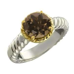 Brown Smoky Quartz Argentium Silver 10k Yellow Gold Ring Jewelry