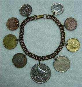 VINTAGE ESTATE 40s 50s INTERNATIONAL WORLD COIN SOUVENIR TRAVEL CHARM