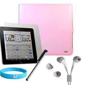 Pink Melrose Leather Case for Apple iPad + White iPad