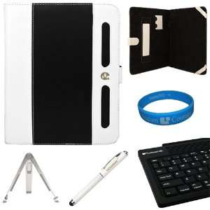 Black White Executive Leather Portfolio Carrying Case Cover for Apple