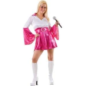 Abba Dancing Queen Pink/White Fancy Dress Costume Size US