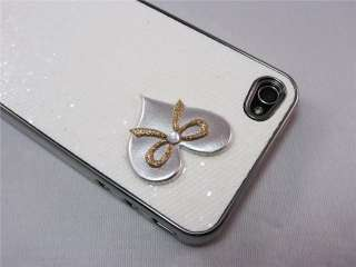Heart Bow Glitter Bling Back Case Cover Skin Protector for iPhone 4 4G