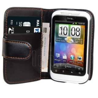 London Magic Store   AIO BLACK WALLET LEATHER CASE FOR HTC WILDFIRE S