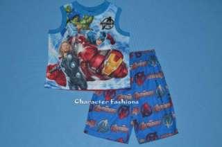 AVENGERS Pajamas pjs Size 4 5 6 7 8 10 12 Shirt Shorts Boys IRON MAN