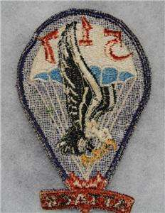 100% ORIGINAL WW2 US 517TH AIRBORNE PARATROOPER POCKET PATCH NO GLOW