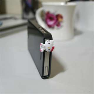 Romantic Hello Kitty Cat Headset Dust ear cap For Apple iPhone4 4s