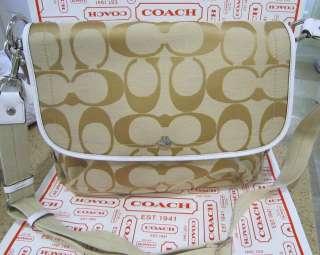 NWT AUTHENTIC COACH DAISY SIGNATURE KHAKI MESSENGER SHOULDER BAG