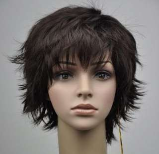 New Fashion Woman Lady Short Dark Brown Wave Cosplay Party Hair wig