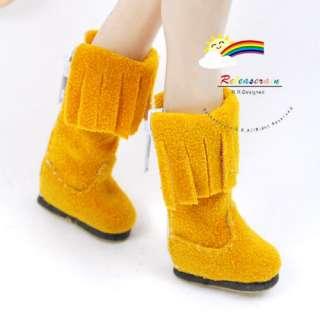 Blythe Pullip Doll Shoes Suede Fringe Boots Mustard