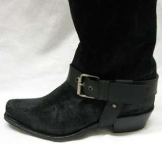 JUICY COUTURE Durango $680 BLACK SUEDE LEATHER Distressed Western