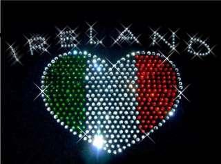 Ireland   Irish Rhinestone Heart T Shirt ~ Style Choice