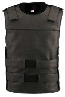 BULLET PROOF STYLE SWAT LOOK LEATHER MOTORCYCLE BIKER VEST