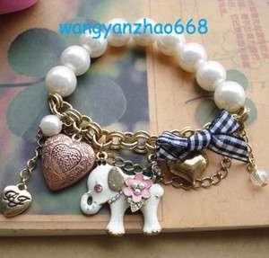 Betsey ~Johnson White Pearl Elephant Heart Pendant Bell Stretchy