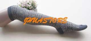 XMAS Gift Womens Girls Soft Wool Stretchy Knee High Socks For Winter