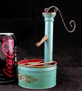 ANTIQUE AMERICAN FOLK ART MOVING TOY WELL HAND PUMP TIN AND COPPER