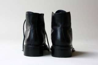 90s Nine West Black Leather Ankle Boots Hooks Grunge 7.5 M