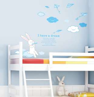 Kids dream Rabbit Wall Decor Removable Stickers Decals