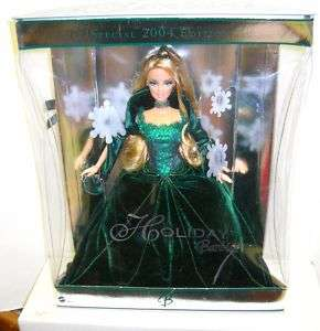 931 NIB Holiday Barbie 2004 Green Dress (Bad Box)