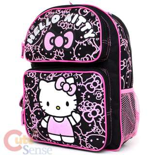 Kitty School Backpack 14 Medium Bag  Black Pink Glittering Face