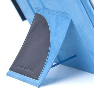 Stand Up iPad Case PIQUADRO BLUE SQUARE in Genuine Blue Leather