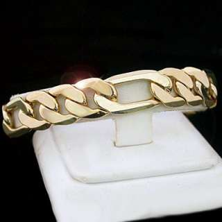 12mm FIGARO Link 24kt Yellow GOLD Layered Solid 9 Bracelet + LIFE