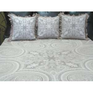 Luxurious Merino Wool Kalam Paisley Bedspread Bedcover Coverlet 86