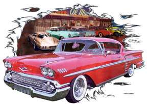 You are bidding on 1 1958 Red Chevy Impala Custom Hot Rod Diner T
