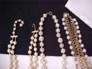 Vintage Lot 4 Faux Pearl Bead Necklace Crystal AB Rhinestone Filigree