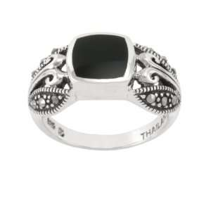 Sterling Silver Marcasite Onyx Band Ring, Size 9 Jewelry