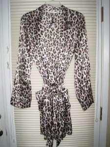 Victoria Secret M/L SILK Pink Gold Leopard Animal Print Satin ROBE
