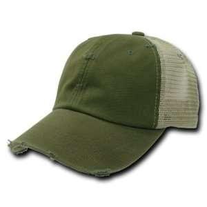 Olive Green Vintage Washed Adjustable Mesh Trucker Baseball Cap Hat