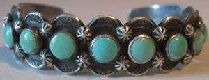 WEIGHTY VINTAGE INDIAN STERLING SILVER TURQUOISE ROW CUFF BRACELET
