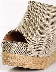 Stylish women shoes open toe inner wedge heel linen braid ankle
