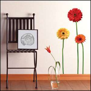 GERBERA Flowers Adhesive Removable Wall Decor Accents Sticker Decals
