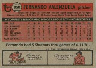 1981 Topps Traded #850 Fernando Valenzuela Dodgers