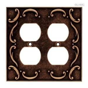 Double Duplex Wall Plate   French Lace   Sponged Copper L