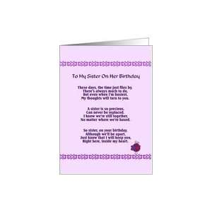 Sisters birthday poem, Although well be apart, precious