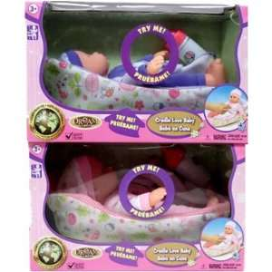 9.5 inch Talking Baby Doll with Rocking Cradle   White