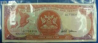 One (1) Trinidad and Tobago Dollar Bill Paper Money Good Condition