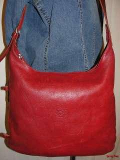 BFS11~IL BISONTE WANNY DI FILIPPO Red Leather Shoulder Bag Purse