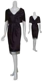 VERA WANG Draped Black Satin Silk Cocktail Dress 10 NEW