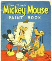 WALT DISNEY MICKEY MOUSE PAINT BOOK WHITMAN 1937 NO RES