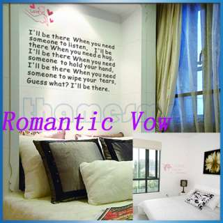 Removable Romantic Vow Quote Art Mural Wall Sticker Wall Decal Home